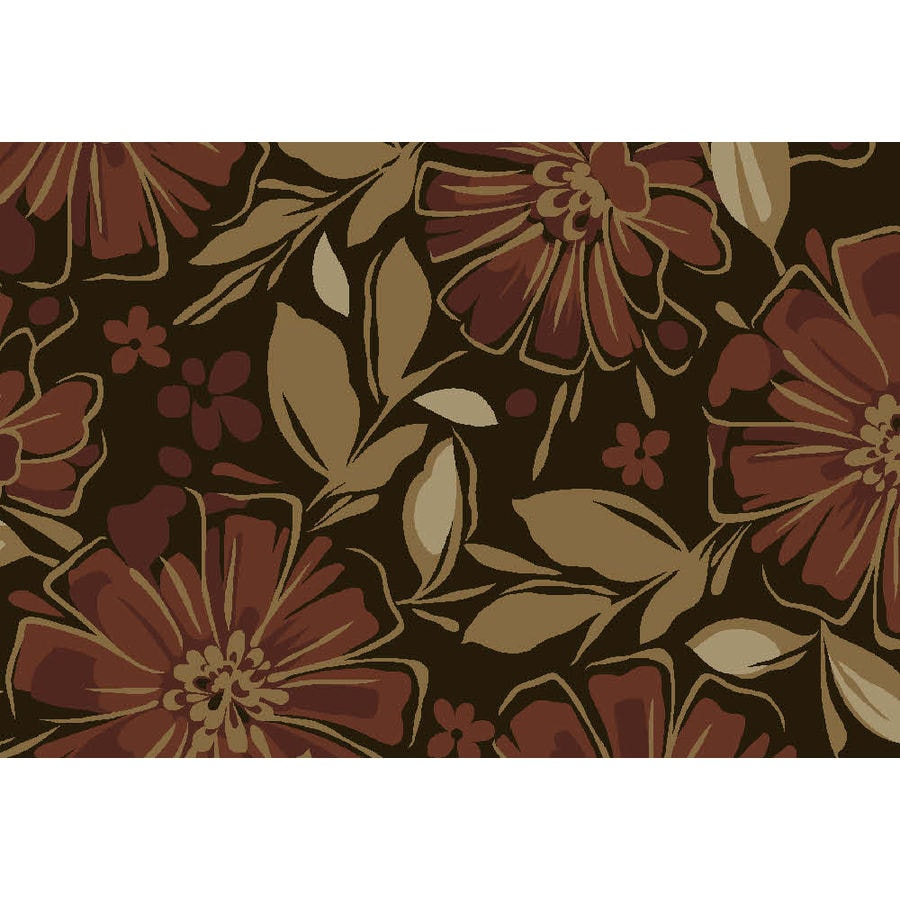 Style Selections Rectangular Red Floral Tufted Area Rug (Common: 4-ft x 6-ft; Actual: 48-in x 72-in)