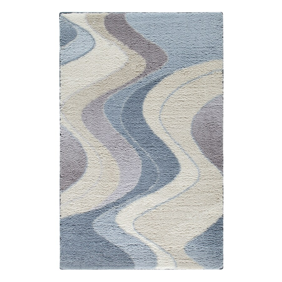 STAINMASTER Blue/Tan Rectangular Indoor Tufted Throw Rug (Common: 3 x 4; Actual: 2.5-ft W x 4-ft L)