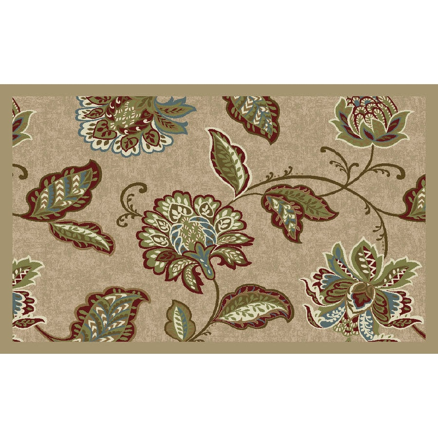 Style Selections Beige Rectangular Indoor Tufted Throw Rug (Common: 3 x 4; Actual: 2.5-ft W x 3.83-ft L)