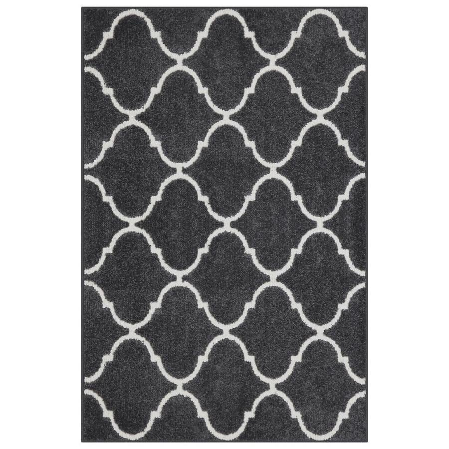 Charcoal/Beige Rectangular Indoor Machine-Made Throw Rug (Common: 3 x 4; Actual: 2.5-ft W x 3.83-ft L)