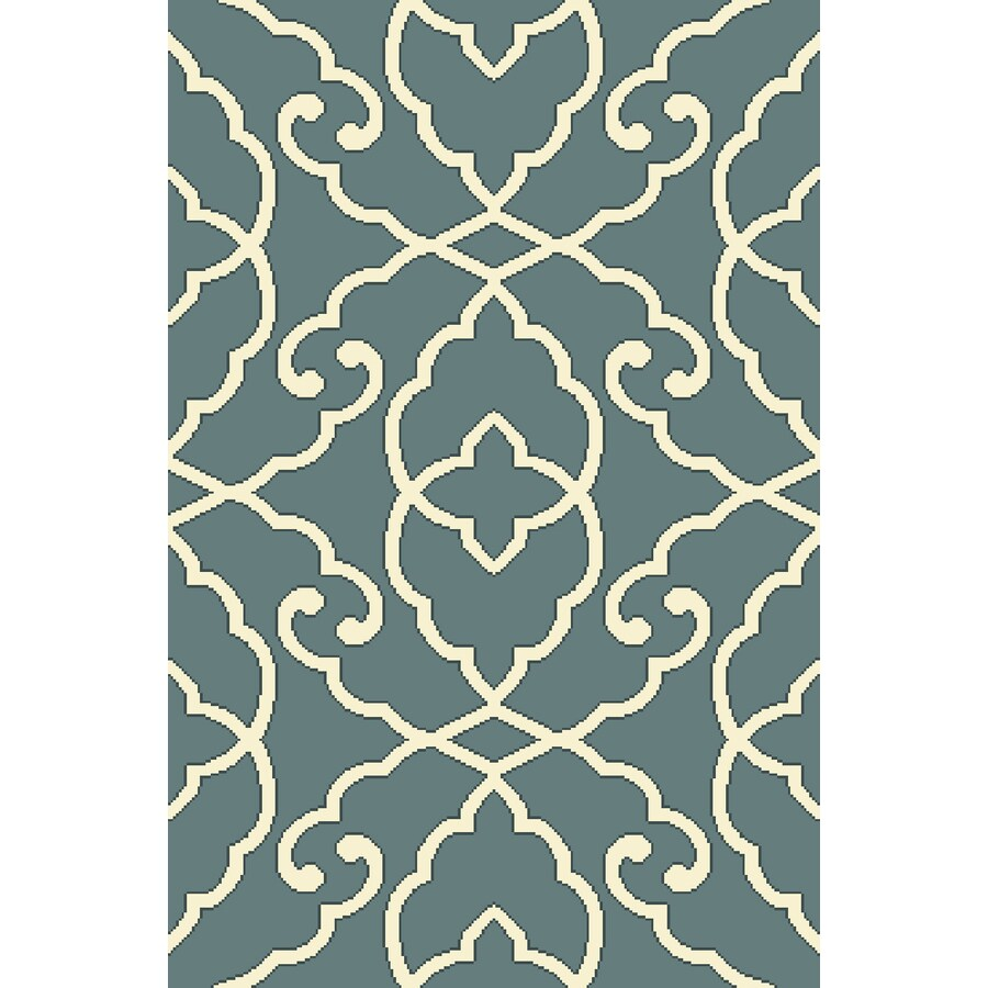 Antique Blue/Cream Rectangular Indoor Tufted Throw Rug (Common: 3 x 4; Actual: 2.5-ft W x 3.83-ft L)