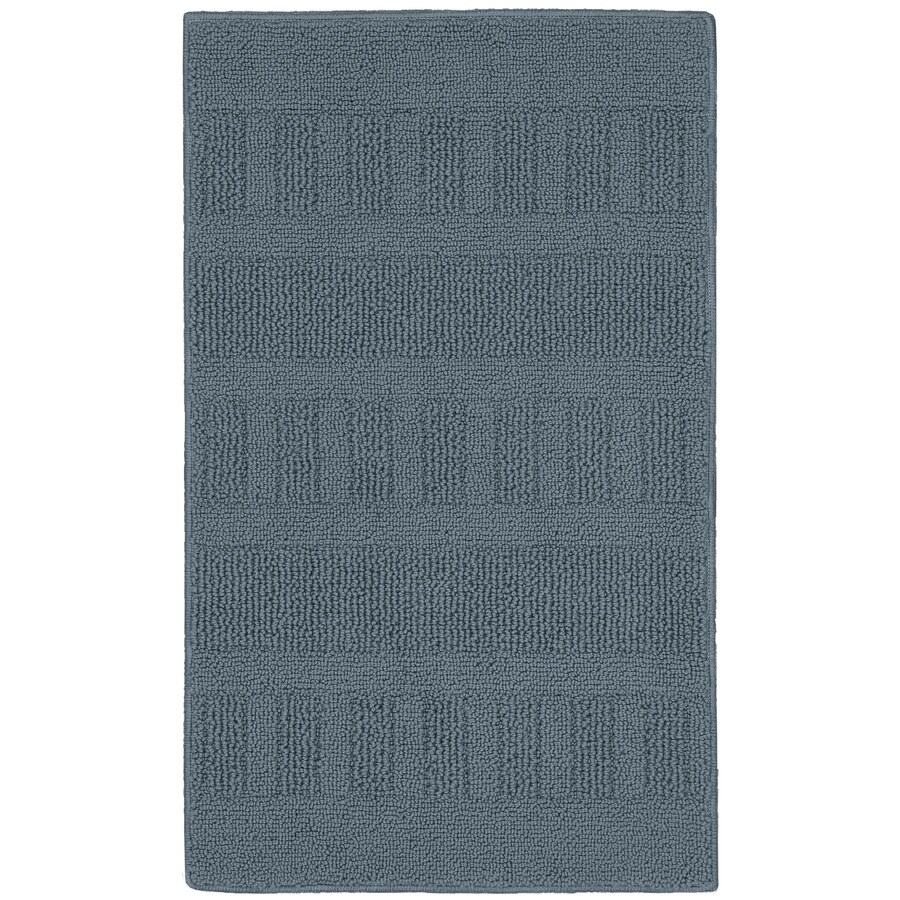 Style Selections Blue Rectangular Indoor Tufted Throw Rug (Common: 2 x 3; Actual: 1.67-ft W x 2.83-ft L)