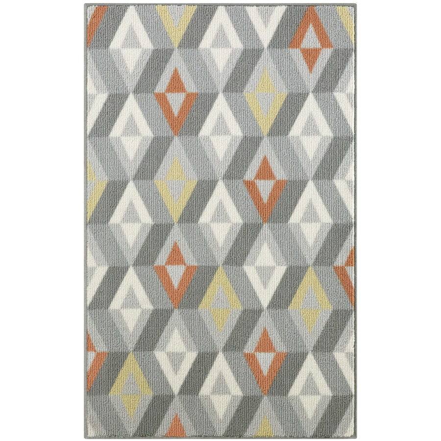 allen + roth Blue/Grey Rectangular Indoor Tufted Throw Rug (Common: 3 x 4; Actual: 2.5-ft W x 3.83-ft L)