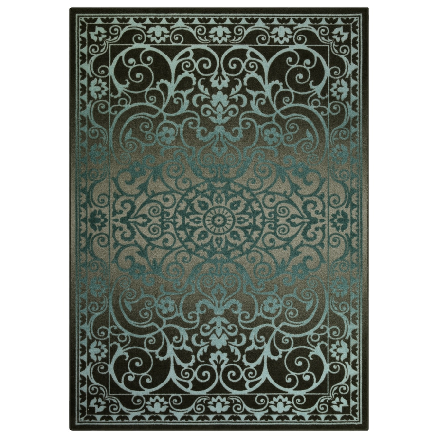 Blue Grey Indoor Area Rug Common 5 X 7 Actual 5 Ft W X 7 Ft L