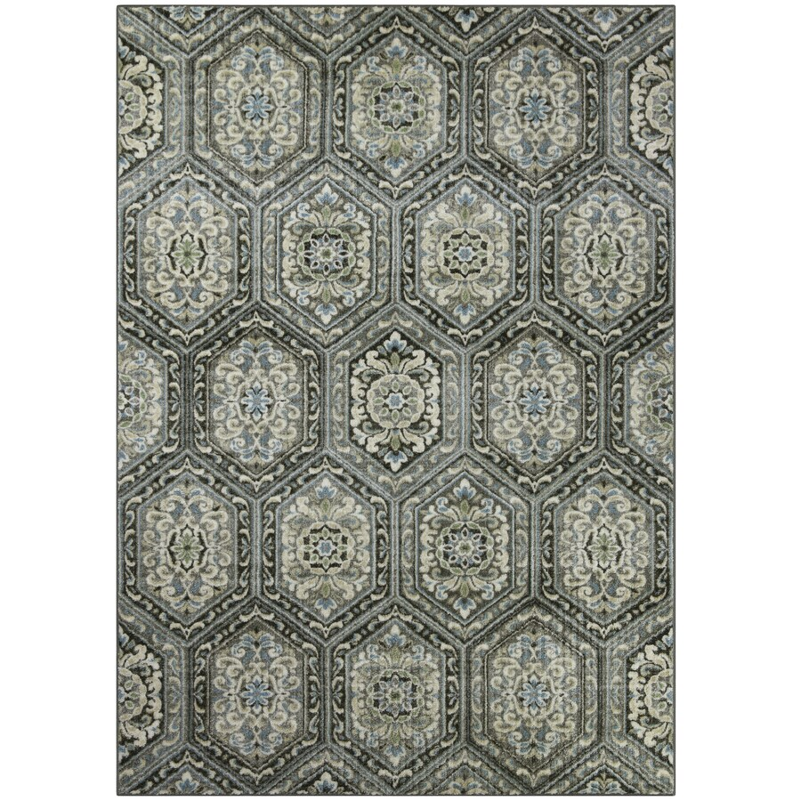 Maples Rugs Blue/Green Rectangular Indoor Machine Made Area Rug (Common: 5