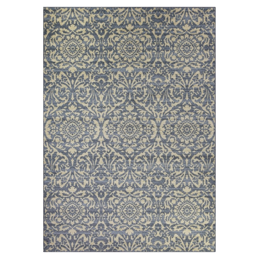 shop maples rugs blue green indoor area rug common 5 x 7 actual 5 ft w x 7 ft l at. Black Bedroom Furniture Sets. Home Design Ideas