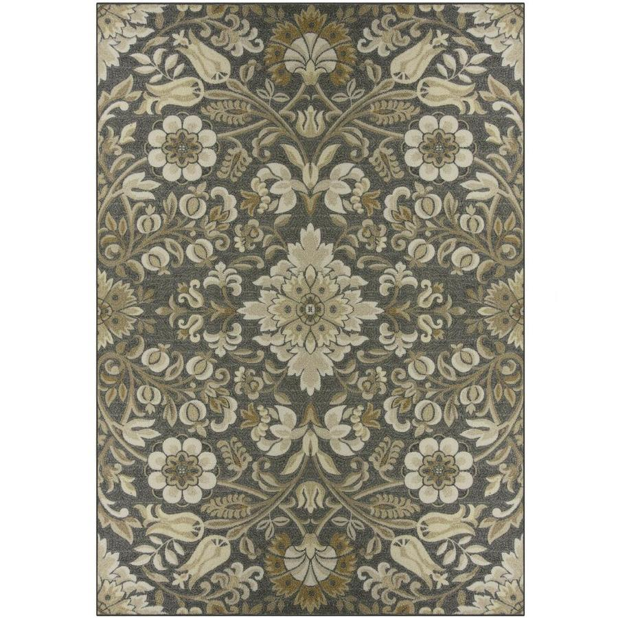 Shop maples rugs value bay gray tan rectangular indoor for Grey and tan rug