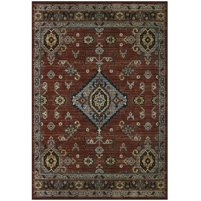 Value Bay Red Multi Rectangular Indoor Machine Made Moroccan Area Rug Common 8 X 10 Actual 7 Ft W L