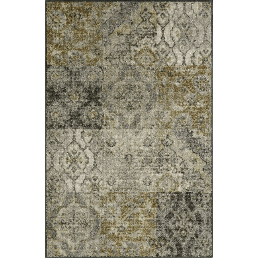 Maples Rugs Gray/Gold Rectangular Indoor Machine-Made Throw Rug (Common: 3 x 4; Actual: 2.5-ft W x 3.83-ft L x 0-ft Dia)