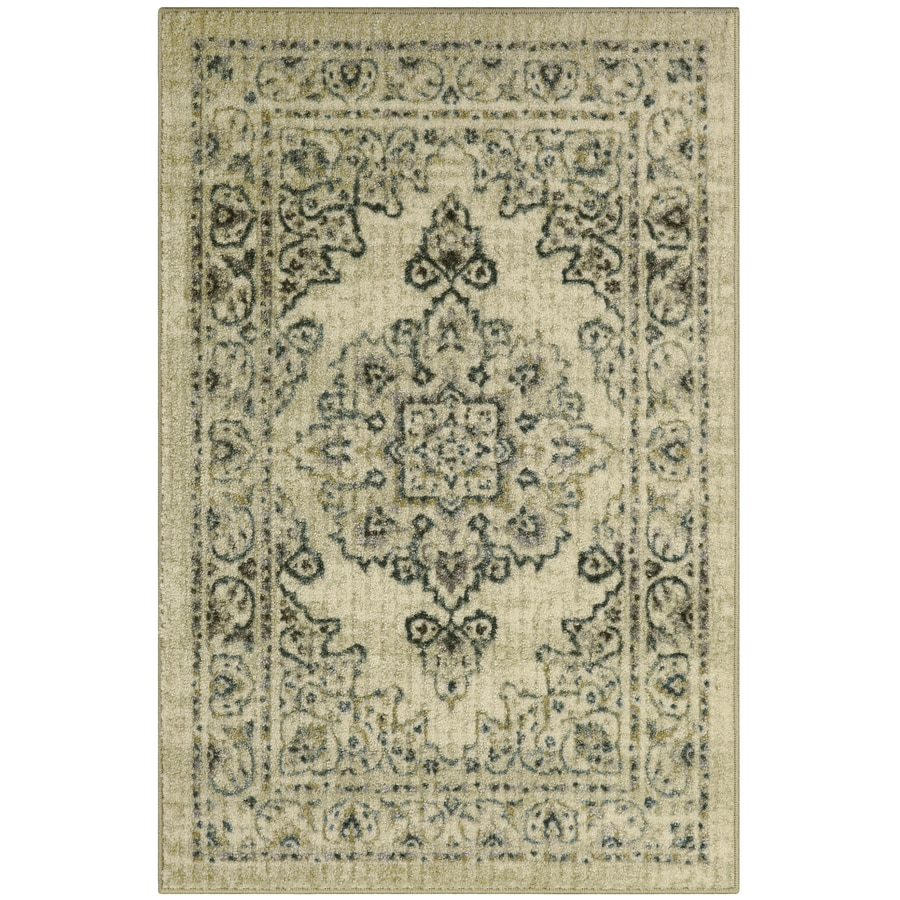Shop maples rugs blue green rectangular indoor machine for Common throw rug sizes