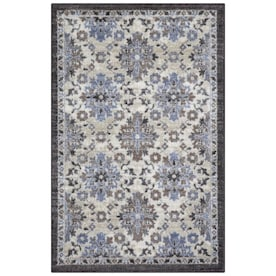 allen + roth Gray/Blue Rectangular Indoor Machine-Made Throw Rug (Common: 3 x 4; Actual: 2.5-ft W x 3.83-ft L)