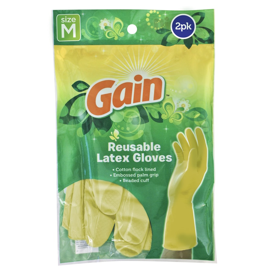 Gain 4-Count Medium Latex Cleaning Gloves