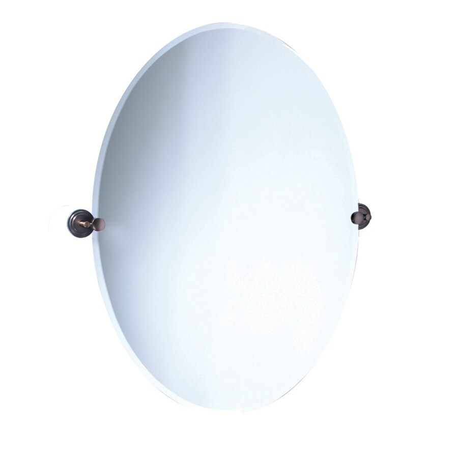 Gatco Marina 28.5-in x 32-in Oval Frameless Bathroom Mirror