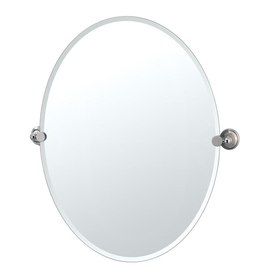 Gatco Laurel Avenue 24-in W x 32-in H Oval Tilting Frameless Bathroom Mirror with Edges