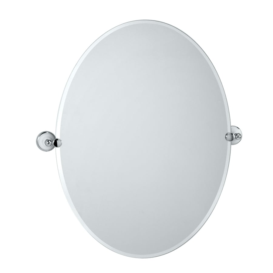 Gatco Franciscan 28.5-in x 32-in Oval Frameless Bathroom Mirror