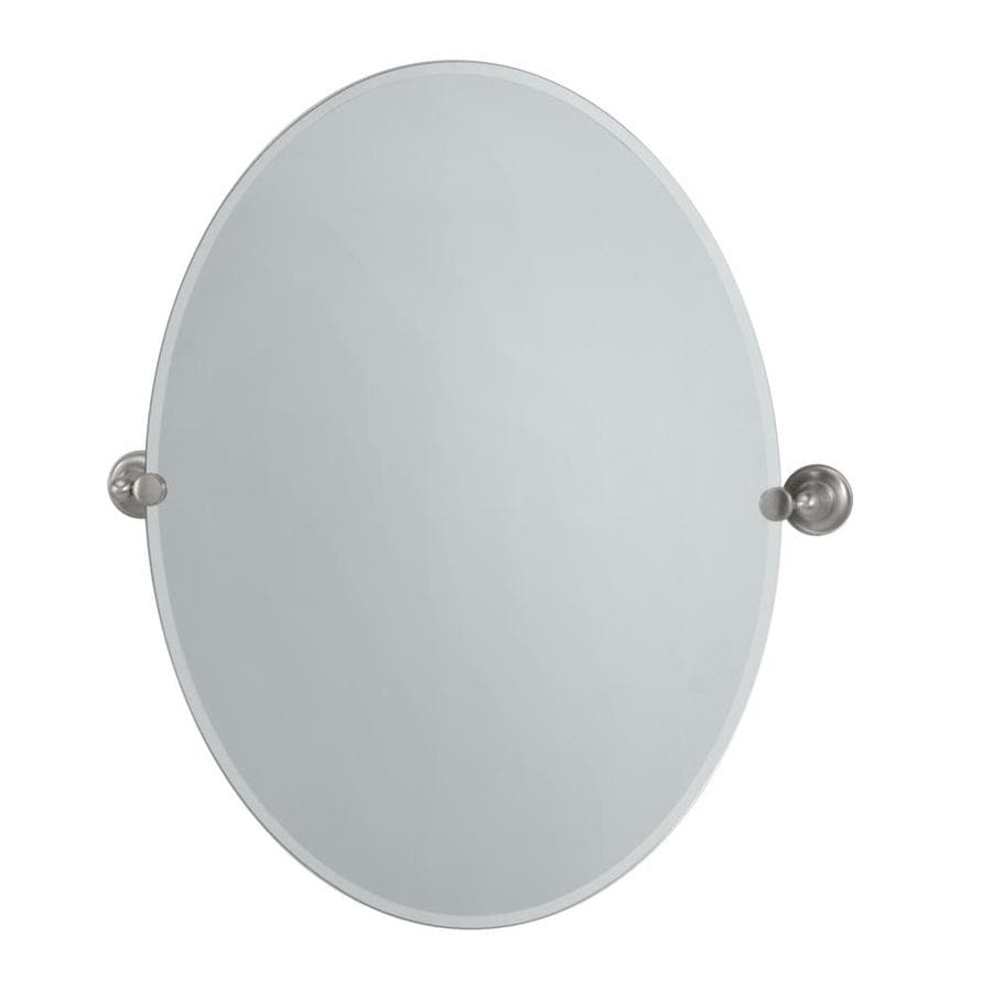 satin nickel bathroom mirror shop gatco gatco tiara 24 in satin nickel oval bathroom 20309