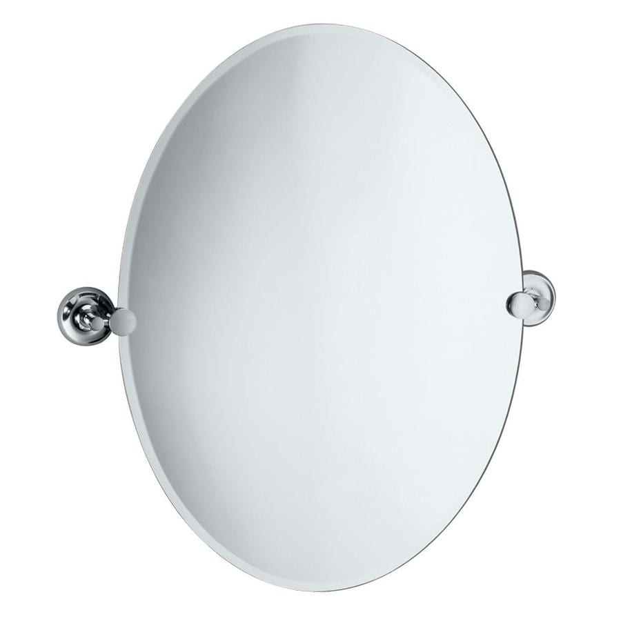 Gatco Designer 2 19.5-in x 26.5-in Chrome Oval Frameless Bathroom Mirror