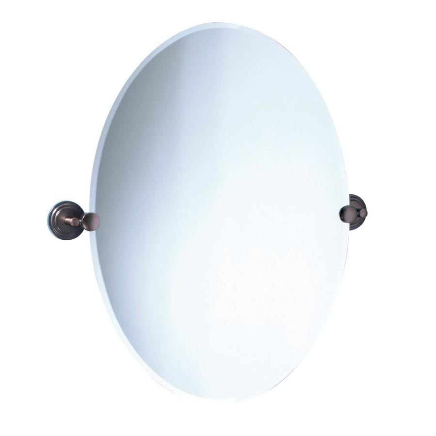 Gatco Marina 19.5-in W x 26.5-in H Oval Tilting Frameless Bathroom Mirror with Edges