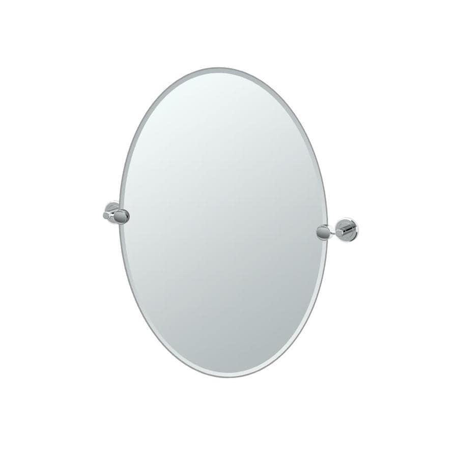 Gatco Latitude 2 19.5-in W x 26.5-in H Oval Tilting Frameless Bathroom Mirror with Chrome Hardware and Beveled Edges