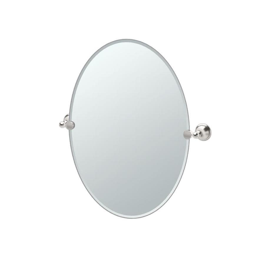 Gatco Laurel Avenue 19.5-in W x 26.5-in H Oval Tilting Frameless Bathroom Mirror with Edges