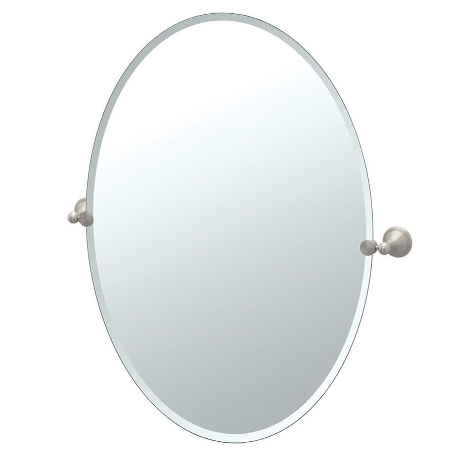 gatco bathroom mirrors shop gatco gatco laurel avenue 24 in satin nickel oval 12943