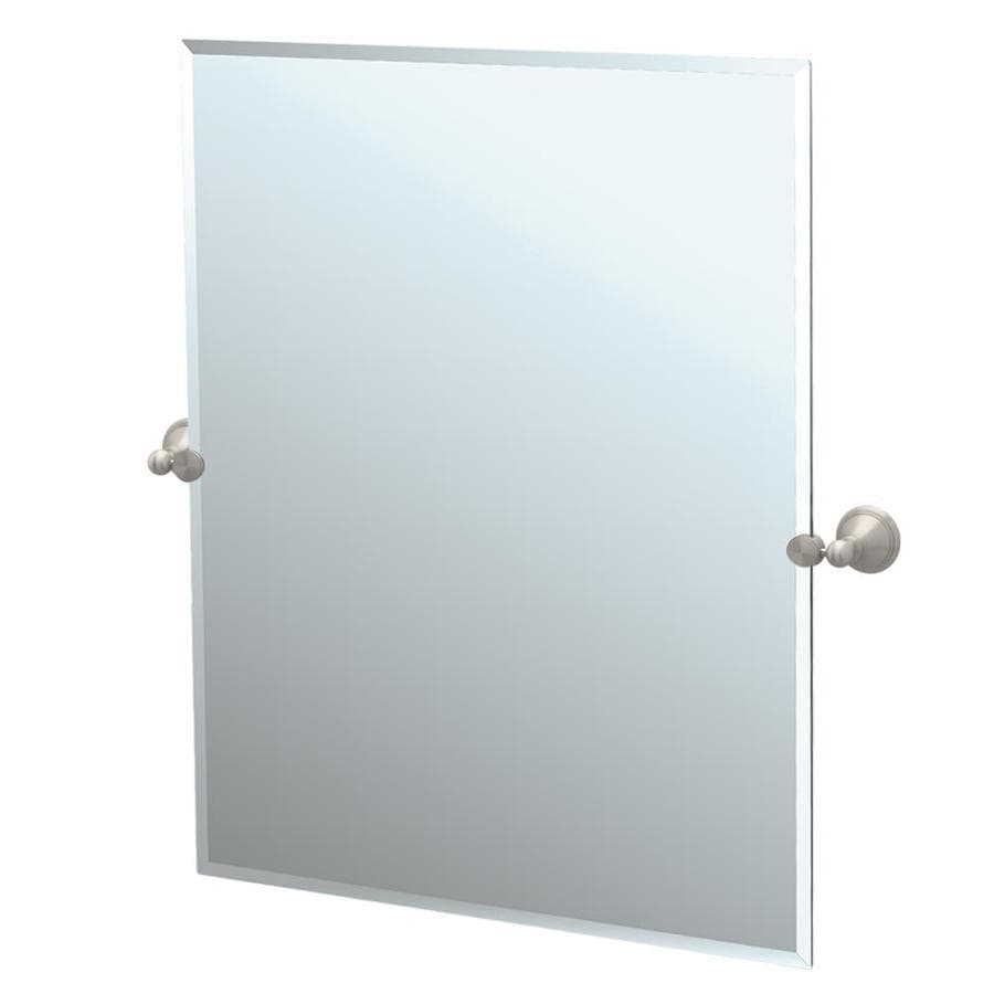 Gatco Laurel Avenue 23.5-in W x 31.5-in H Rectangular Tilting Frameless Bathroom Mirror with Satin Nickel Hardware and Beveled Edges