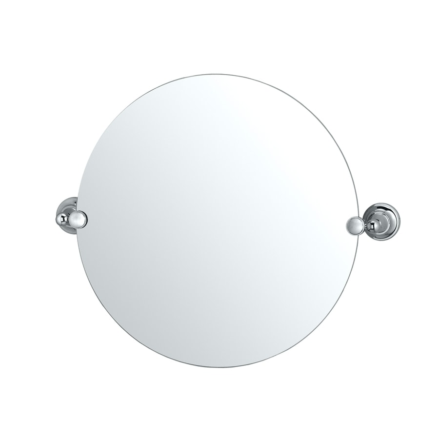 Shop gatco tiara 19 5 in w x 19 5 in h round tilting frameless bathroom mirror with edges at for Round tilting bathroom mirror