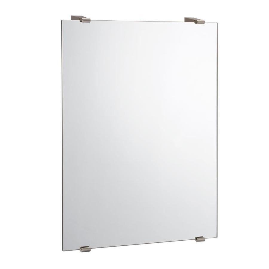 Gatco Bleu 22-in x 30-in Satin Nickel Rectangular Frameless Bathroom Mirror