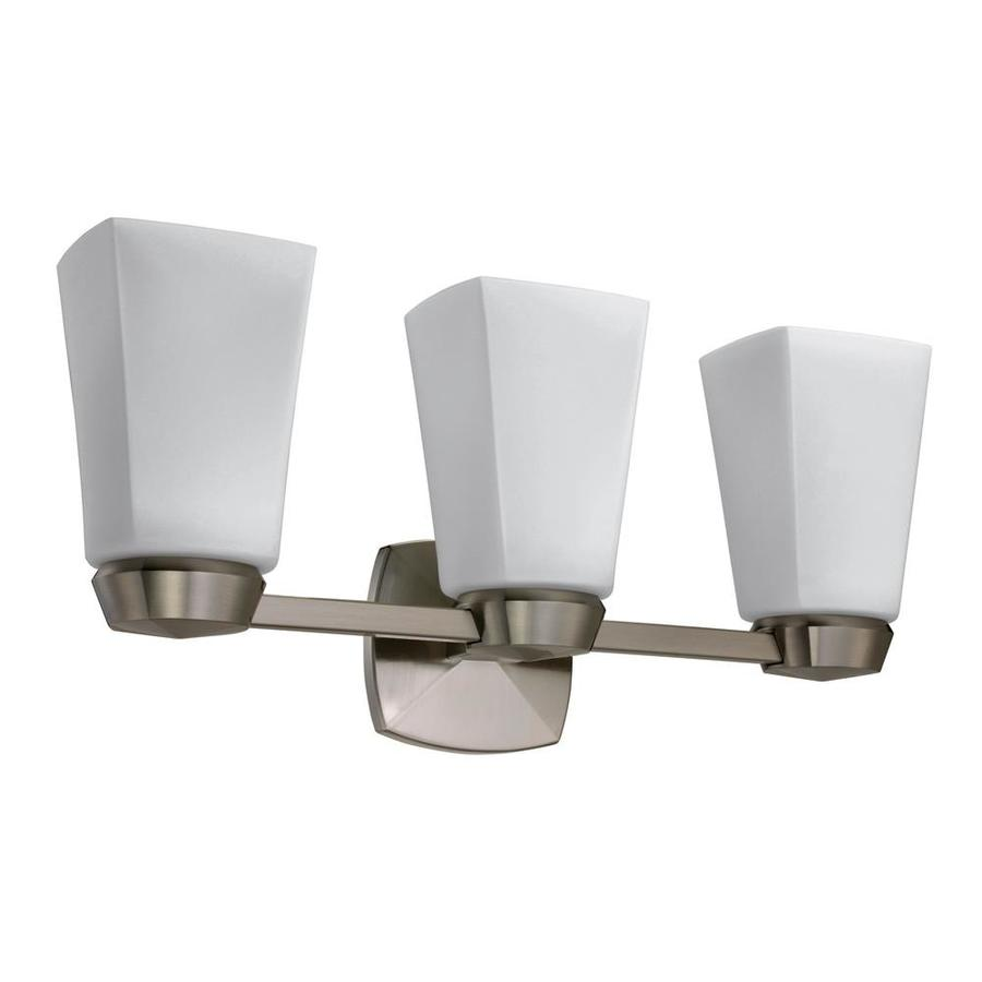 Gatco Jewel 3-Light 9-in Satin Nickel Square Vanity Light