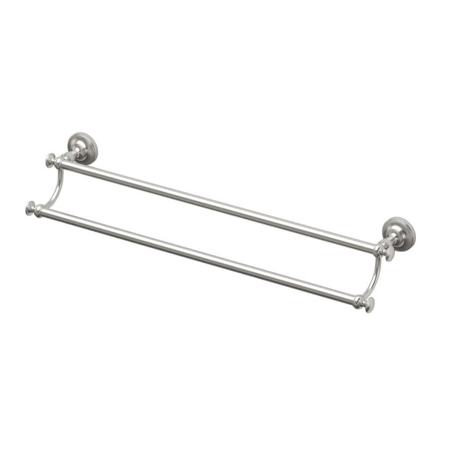 Gatco Tavern Satin Nickel Double Towel Bar (Common: 24-in Double; Actual: 27-in)