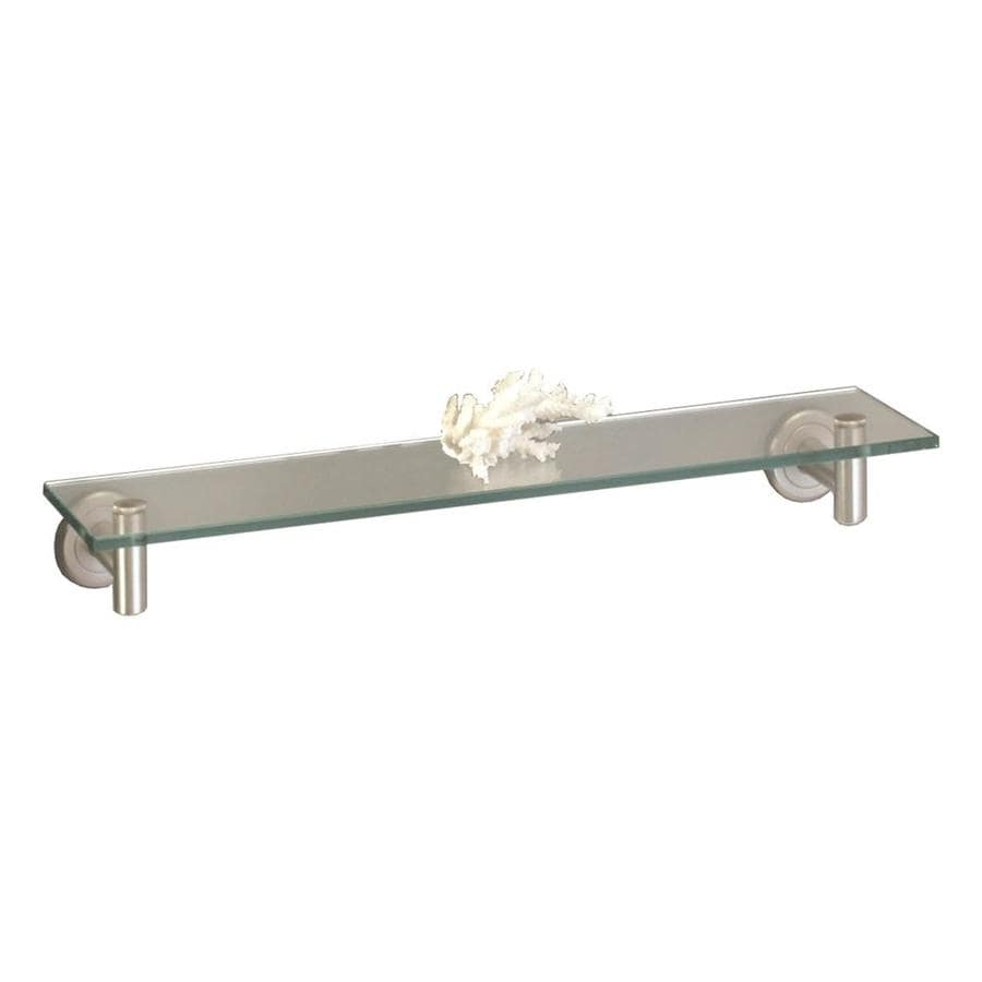 Shop gatco latitude satin nickel glass bathroom shelf at for Bathroom glass shelves