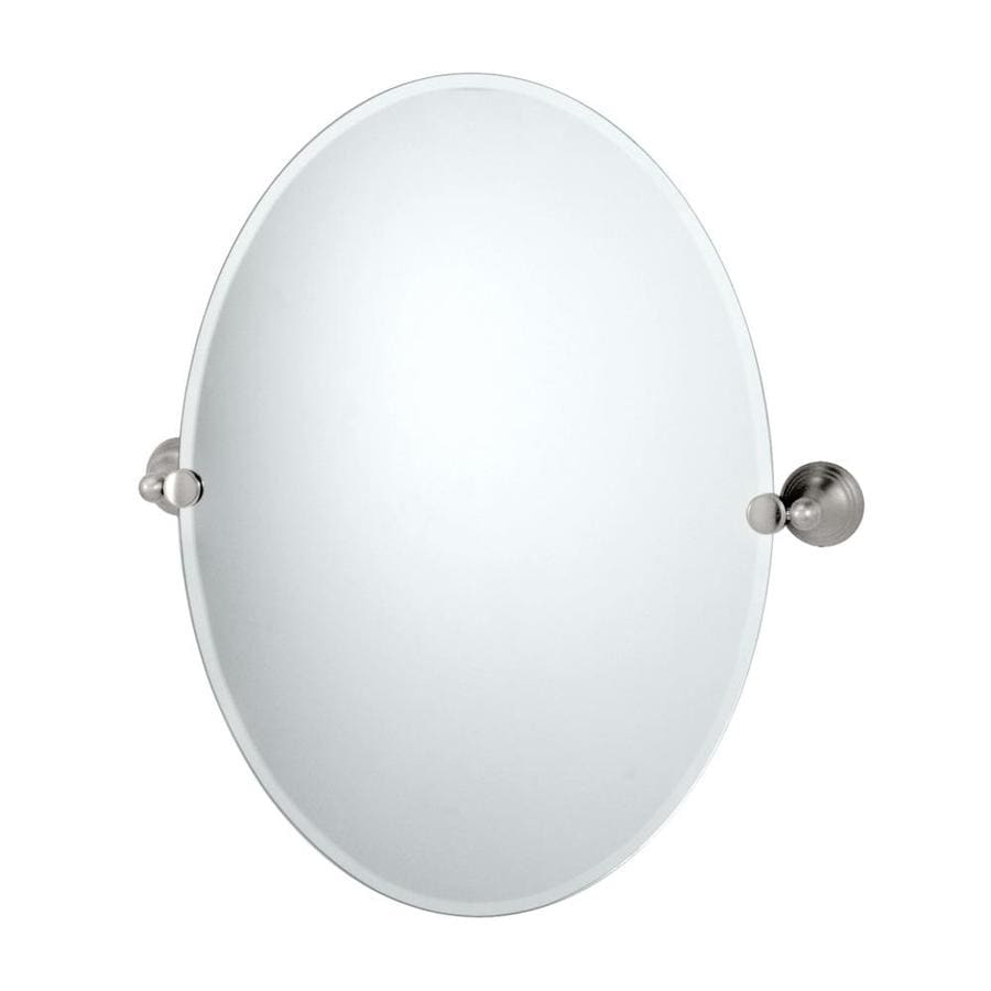 Gatco Charlotte 19.5-in W x 26.5-in H Oval Tilting Frameless Bathroom Mirror with Satin Nickel Hardware and Beveled Edges