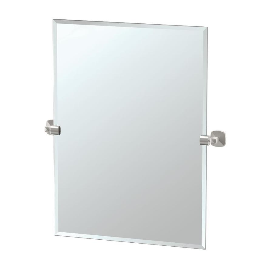 Gatco Jewel 23.5-in W x 31.5-in H Rectangular Tilting Frameless Bathroom Mirror with Satin Nickel Hardware and Beveled Edges