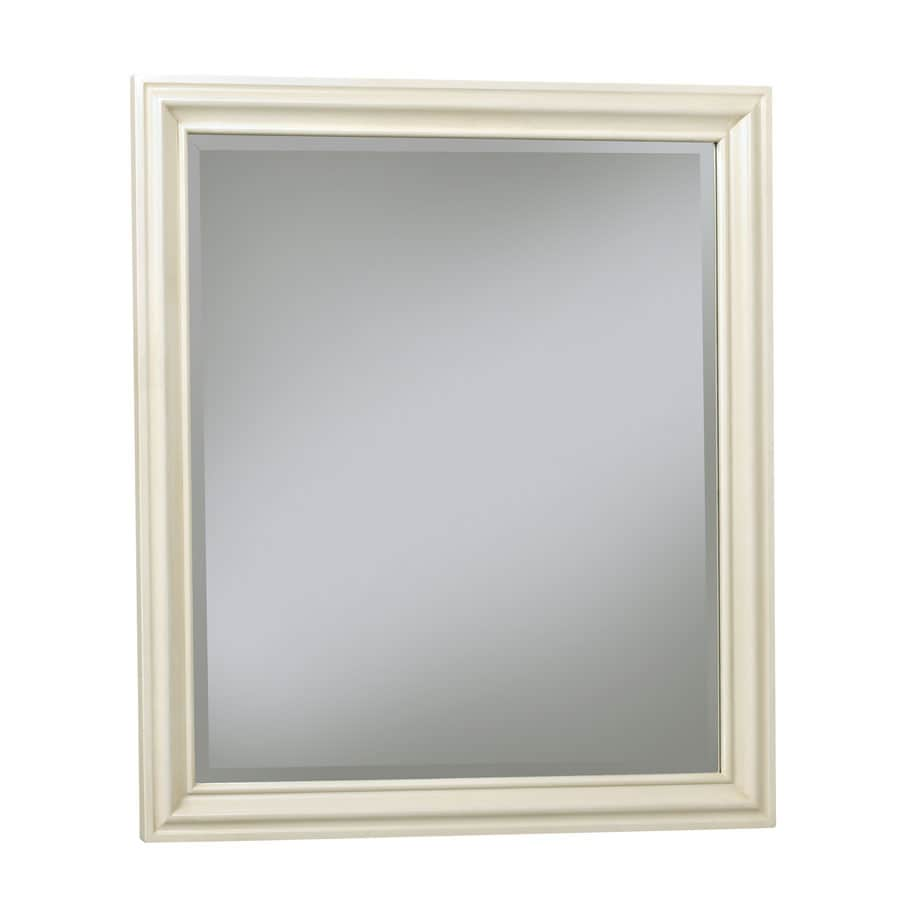 allen + roth Ketterton 30-in W x 33-in H Cream Rectangular Bathroom Mirror