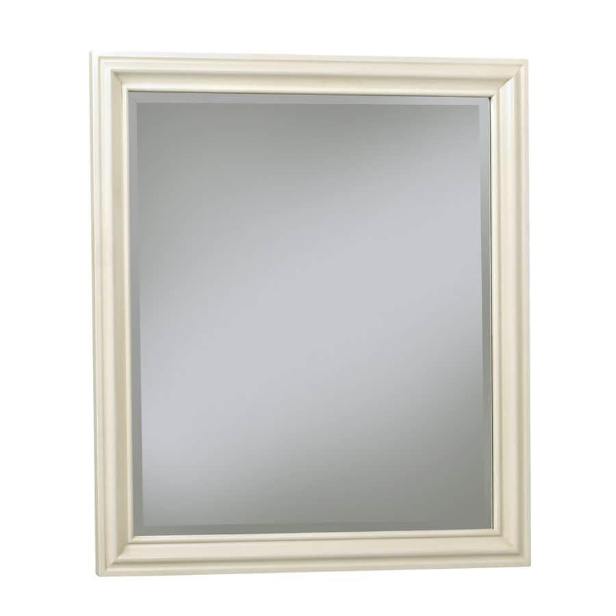allen + roth Ketterton 30-in W x 33-in H Cream Rectangular Bathroom Mirror