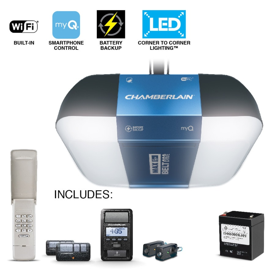 Garage Door Opener Led Lights: Chamberlain 1.25 HP Corner To Corner Lighting Belt Drive