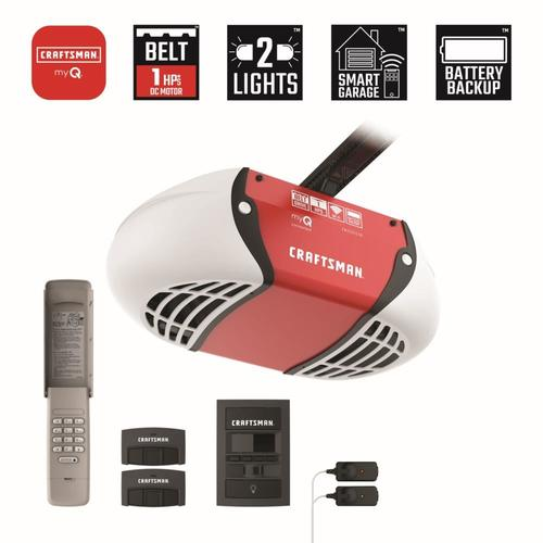 Craftsman 1 Hp My Q Smart Belt Drive Garage Door Opener With Myq And Wi Fi Compatibility And Battery Back Up In The Garage Door Openers Department At Lowes Com