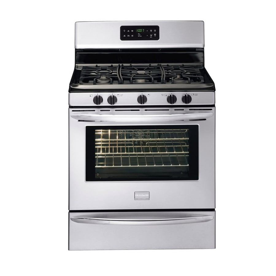 Frigidaire Gallery 5-Burner Freestanding 5-cu ft Self-cleaning Gas Range (Fingerprint-Resistant Stainless steel) (Common: 30-in; Actual: 29.88-in)