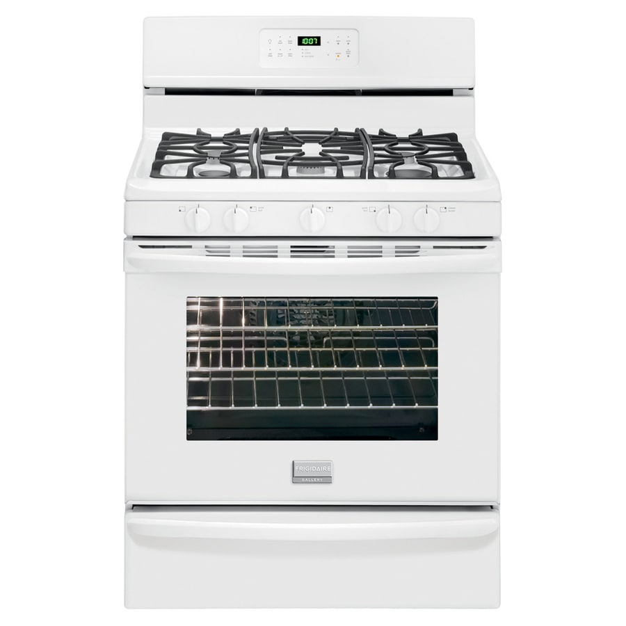 Frigidaire Gallery 5-Burner Freestanding 5-cu ft Self-Cleaning Convection Gas Range (White) (Common: 30-in; Actual: 29.88-in)