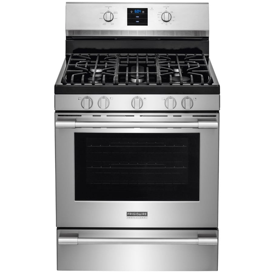 Frigidaire Professional 5-Burner Freestanding 5.6-cu ft Self-Cleaning Convection Gas Range (Smudge-Proof Stainless Steel) (Common: 30-in; Actual: 29.875-in)