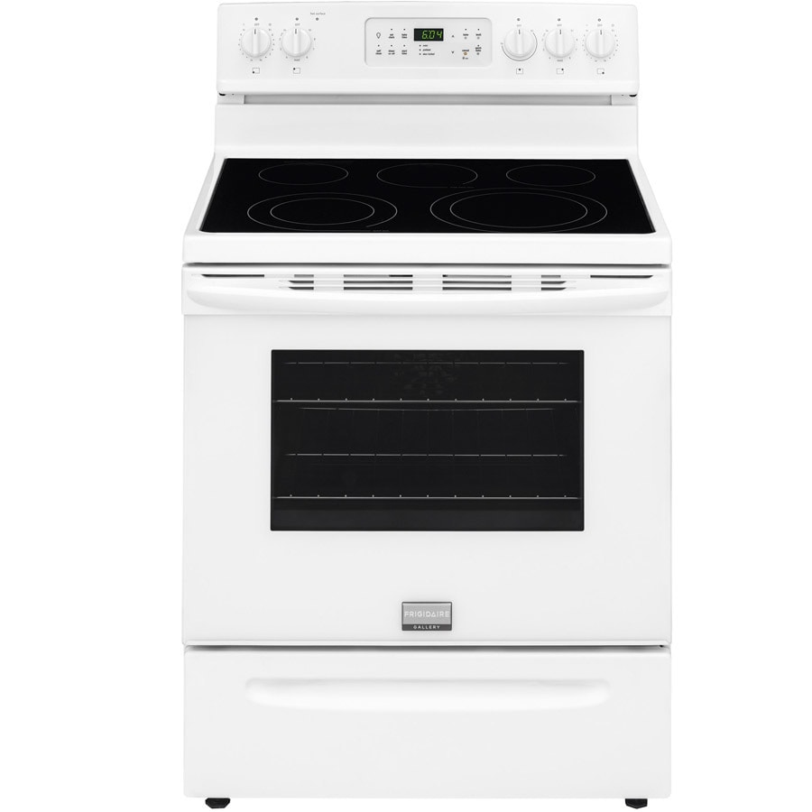 Frigidaire Gallery Smooth Surface Freestanding 5-Element 5.7-cu ft Self-Cleaning Convection Electric Range (White) (Common: 30-in; Actual: 29.875-in)