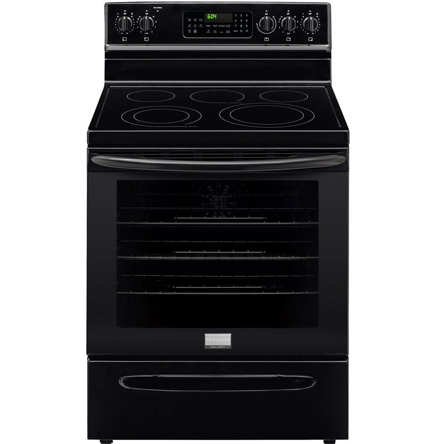 Frigidaire Gallery Smooth Surface Freestanding 5-Element 5.8-cu ft Self-Cleaning Convection Electric Range (Black) (Common: 30-in; Actual: 29.875-in)
