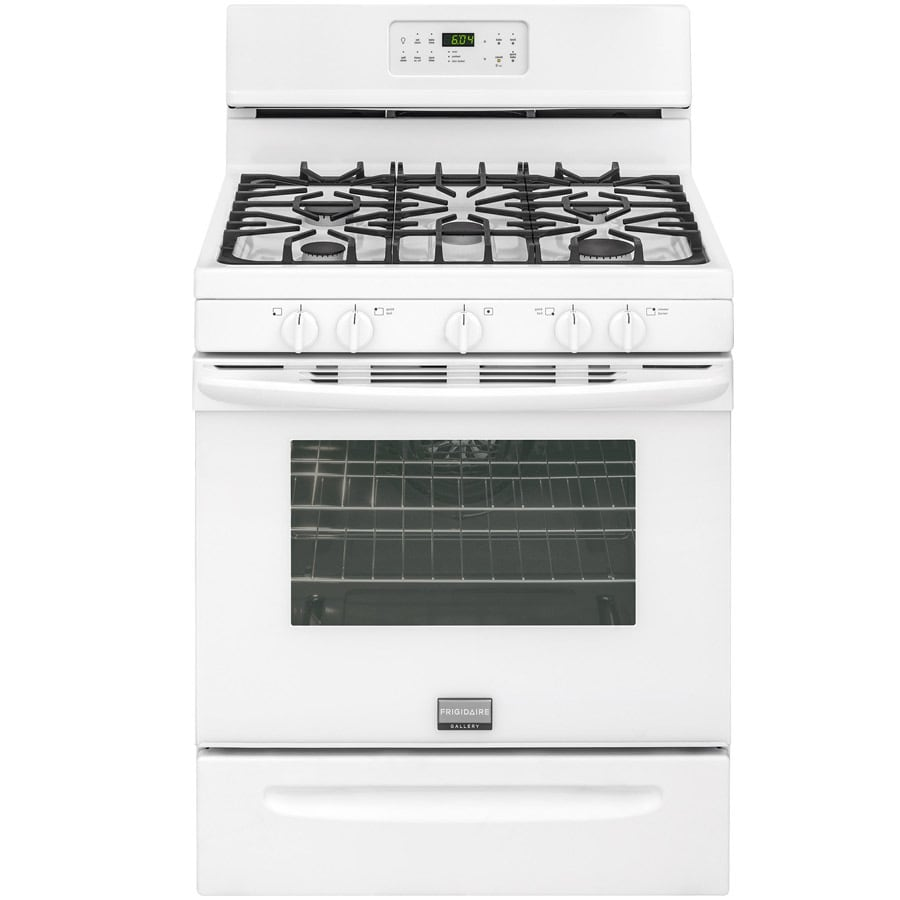 Frigidaire 5-Burner Freestanding 5-cu ft Self-cleaning Convection Gas Range (White) (Common: 30-in; Actual: 29.88-in)