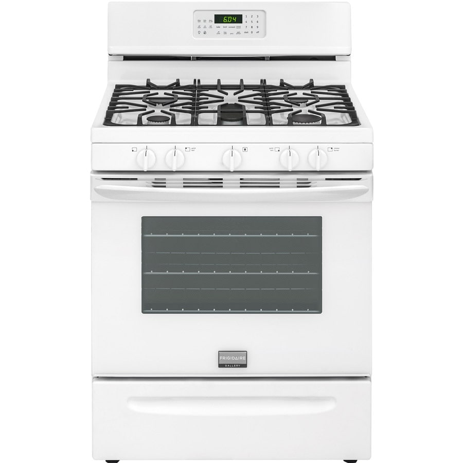Frigidaire 5-Burner Freestanding 5-cu ft Self-cleaning Convection Gas Range (White) (Common: 30-in; Actual: 29.875-in)