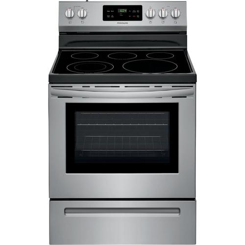 Frigidaire Smooth Surface 5 Elements 5.4-cu ft Steam Cleaning Freestanding Electric Range (EasyCare Stainless Steel) (Common: 30-in; Actual: 29.875-in) at Lowes.com