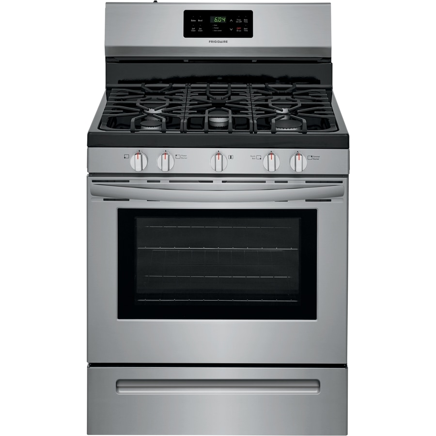 30 gas range double oven frigidaire 5burner freestanding 5cu ft selfcleaning gas range easycare ranges at lowescom
