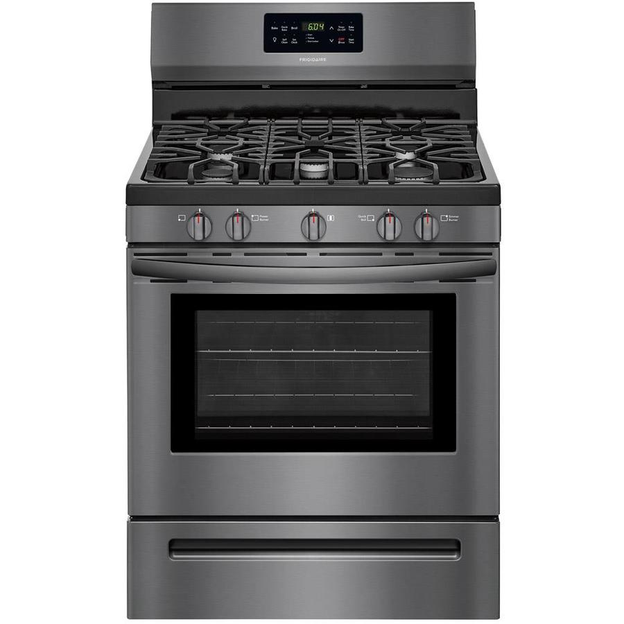 Frigidaire 5-Burner Freestanding 5 Self-Cleaning Convection Gas Range (Black stainless steel) (Common: 30 -in; Actual: 29.875-in)