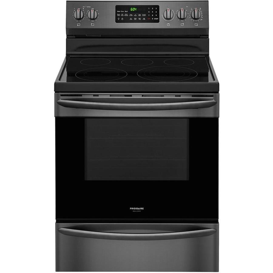 Frigidaire Gallery Smooth Surface Freestanding 5-Element 5.7-cu ft Self-Cleaning True Convection Electric Range (Smudge-Proof Black Stainless steel) (Common: 30-in; Actual: 29.875-in)