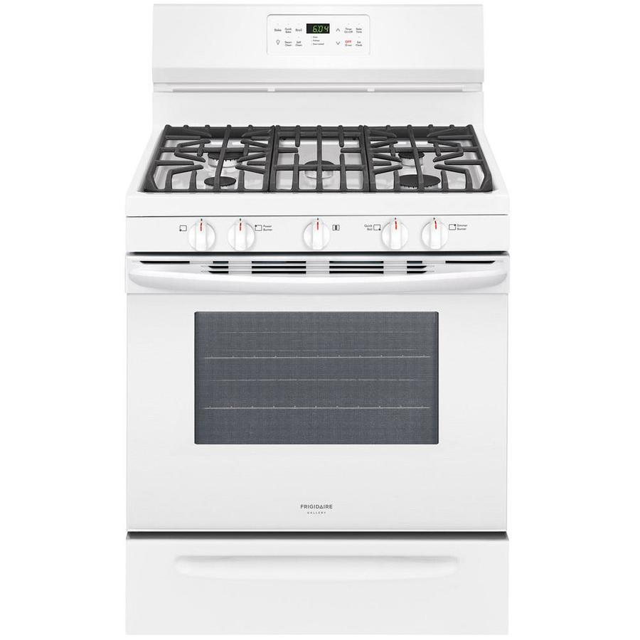 Frigidaire Gallery 5-Burner Freestanding 5-cu ft Self-Cleaning Convection Gas Range (White) (Common: 30-in; Actual: 29.875-in)