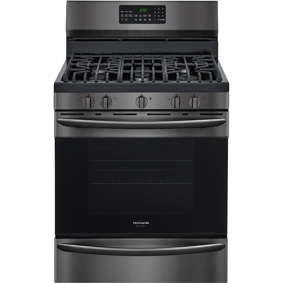 Frigidaire Gallery 5-Burner Freestanding 5-cu ft Self-Cleaning Convection Gas Range (Black Stainless Steel) (Common: 30-in; Actual: 29.875-in)